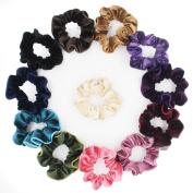 Velvet Hair Scrunchies Set 12pcs Elastic Hair Ties Ponytail Holder