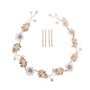 Feyarl Handmade Daisy Rustic Fashion Headband Rhinestone Crystal Headband for Wedding Bridal Prom Party