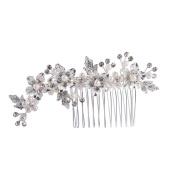 Feyarl Handmade Rhinestone Crystal Hair Side Comb, Decorative Hair Comb Wedding Headpiece