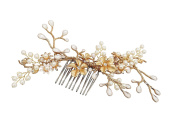 Meiysh Vintage Gold Flower Crystal Pearl Side Combs Bridal Headpiece Wedding Accessories