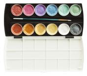 Jack Richeson Set of 12 Semi Moist Collegiate Metallic Watercolour
