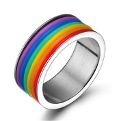 Yufengs Fashion 9 mm Rainbow Rings High Polished Stainless Steel LGBT Pride Silicone Rings for Lesbian & Gay