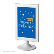 Andaz Press Royal Blue and Gold Glittering Graduation Party Collection, Framed Party Sign, Double-Sided 10cm x 15cm , Please Take One, 1-Pack, Includes Reusable Frame