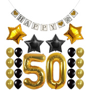 "50th Birthday Party Decorations Kit - Vintage "" HAPPY 50th "" Banner, Number 50 Gold Balloons , Gold and Black Balloons Pack, Perfect For 50 Years Old Party Supplies Favours"