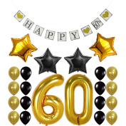 "60th Birthday Party Decorations Kit - Vintage "" HAPPY 60th "" Banner, Number 60 Gold Balloons , Gold and Black Balloons Pack, Perfect For 60 Years Old Party Supplies Favours"