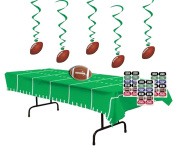 Football Party Decorations - Football Whirls (5),Game Day Football Tablecover, Inflatable Football for Centrepiece and Football Face Tattoos