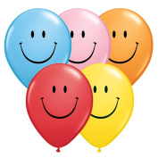 Qualatex Smile Face Bright Colours 28cm Latex Balloons, Assorted Colours, 6 CT