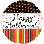 Anagram Vintage Cursive Happy Halloween Polka Dotted 46cm Foil Balloon