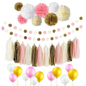 Langcal Party Supplies Pink and Gold Tissue Paper Flowers Pom Poms Garland & Tassels and Latex Party Balloons for Baby Shower Party Decoration