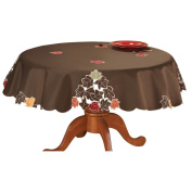 180cm Round Embroidered Harvest Autumn Leaves Home Accents Fabric Linens Tablecloth