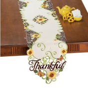 Elegant Embroidered Thankful, Grateful, Blessed Sunflowers Butterfly Home Accents Fabric Linens
