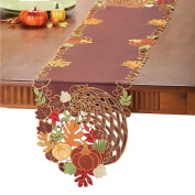 Elegant Cornucopia Embroidery Autumn Fall Thanksgiving Home Accents Fabric Linens