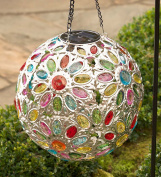 Solar Hanging Floral Jewel Ball Decorative Yard and Garden Accent 25cm Dia. Multi-Coloured Crystals
