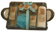 Olive Oil Infused Bath Gift Seagrass Basket Set - Shower gel, Body lotion, Body scrub, Bubble bath, Bath salt, Puff.
