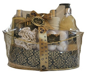 Golden Paradise Vanilla Bath Set Wire Basket Shower gel, Body lotion, Bubble bath, Bath salt, Bath Fizzer, Eva Sponge.