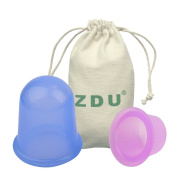 ZDU 2 Pcs Anti Cellulite Cup Silicone Cupping Cups Set Massage Vacuum Therapy Rubber Cup Body Back Legs Cups Kit 1 Large Size and 1 Medium Size