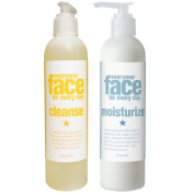 Everyone Face Cleanse Botanical Skincare and Everyone Face Moisturise Botanical Skincare Bundle With Lemon, Ylang Ylang, Lavender and Chamomile Essential Oils, Aloe and Hibiscus Extracts, 240ml each