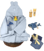 Sunshine Gift Baskets - Bath Time Gift Set - Baby Bath Robe and Slippers (Blue) with Burt's Bees Shampoo and Lotion