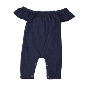 For 12M-3T, UMFun Baby Girls Demin Off Shoulder Romper Jumpsuit Outfits Clothes