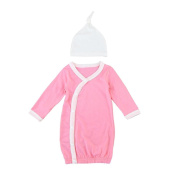 For 3M-18M, UMFun Baby Long Sleeve Gown Knot Hat Outfits Clothes Set