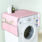 Saumota Candy Colour Decorative Oxford Cloth Dust Proof Cover Refrigerator Cover With Pockets-Pink
