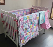 Pink Baby Girls 4pcs Crib Bedding Set (without bumpers) 1)quilt,1)fitted sheet,1)nappy stacker,1)fleece blanket