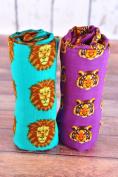 Oliver + Kit Muslin Swaddle Duo Roar, Purple/Orange, 120cm X 120cm