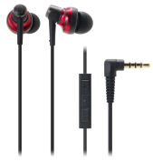 Audio Technica SonicPro Port ATH-CKM500I In-ear Headphones with Mic & Volume Control for iPod, iPhone, and iPad - Red