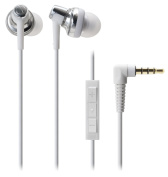 Audio Technica SonicPro Port ATH-CKM500I In-ear Headphones with Mic & Volume Control for iPod, iPhone, and iPad - White