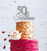 50 & Fabulous - 50th Birthday Cake Topper - Swirly - Glitter Silver
