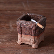 Retro rough pottery ashtray creative personality trend cute multi-functional bedroom living room ceramic clay, 8.5 * 8.5 * 8.5CM