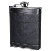 Prime Homewares 240ml Hip Flask Stainless Steel with Leather Effect Whisky Flask Alcohol Flask
