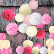 Wartoon Tissue Paper Pom Poms Flowers and Lanterns, latex Balloons for Wedding Birthday Party Baby shower Decoration, 28 pieces