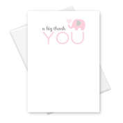 Pink Elephant Thank You Card Baby Shower Stationery