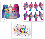 Shimmer and Shine Genies Party Blowouts Tiaras Crown Favours Treats Birthday Party Supplies (8-Pieces) plus Birthday Card