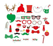 EBTOYS Christmas Photo Booth Props 33pcs Xmas Photo Props for Christmas Party Supplies