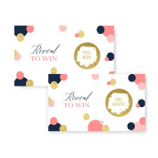 Mod Dot Scratch Off Card Baby Shower Wedding Party Game Navy and Coral