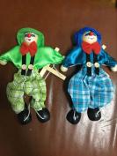 SPARIK ENJOY 2 Packs Clown Hand Marionette Puppet Children's Wooden Marionette Toys Colourful Marionette Puppet Doll Parent-Child Interactive Toys- Green and Blue