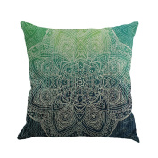 Qiancheng Featured Mandala Style Linen Cushion Cover Pillow Case for Sofa Home Decor