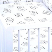 BB-CAMARADE – Pack of 2 Fitted Sheets White Black Polka Dots. 100% Cotton.