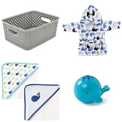 Baby Gift Set Storage Tote, Hooded Bath Towel, Whale Bath Robe, Oball Tub Toy