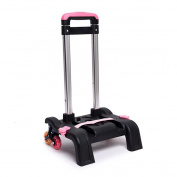 Skhls 3 Wheel Aluminium Fold Hand Roll Cart Trolley School Bags easy climb the stairs Rolling School Backpack Trolley, Pink
