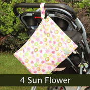 WXLAA Baby Nappy Bag Double Zipper Nappy Washable Wet Dry Cloth Infant Bag Sun Flower