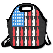 Patriotic Beer Bottle USA American Flag Lunch Tote Insulated Reusable Picnic Lunch Bags Boxes For Men Women Adults Kids Toddler Nurses