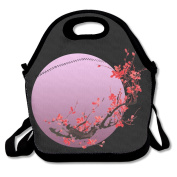Pink Moon Sakura Flowers Japanese Cherry Blossom Lunch Tote Insulated Reusable Picnic Lunch Bags Boxes For Men Women Adults Kids Toddler Nurses