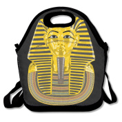 Pharaoh Egypt Gold Egyptian Head Lunch Tote Insulated Reusable Picnic Lunch Bags Boxes For Men Women Adults Kids Toddler Nurses