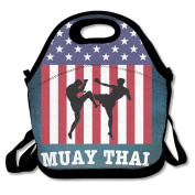 Muay Thai Thailand Kickboxing Lunch Tote Insulated Reusable Picnic Lunch Bags Boxes For Men Women Adults Kids Toddler Nurses