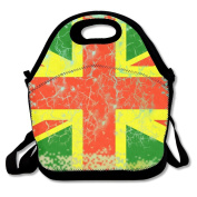 Rasta Union Jack Reggae Lunch Tote Insulated Reusable Picnic Lunch Bags Boxes For Men Women Adults Kids Toddler Nurses