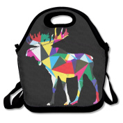 Abstract Poly Moose Animal Lunch Tote Insulated Reusable Picnic Lunch Bags Boxes For Men Women Adults Kids Toddler Nurses