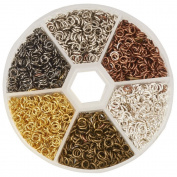 Coobbar 3300pcs Iron Plated Jump Rings for Jewellery Making Findings 6 Colours 4mm Diameter
